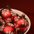 Bowl of Red Xmas Balls — 图库照片