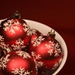 Bowl of Red Xmas Balls — Foto de Stock