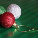 Three Shiny Christmas Baubles — Stock Photo