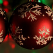 Stock Photo: Three Red Snowflake Baubles