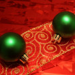 Stock Photo: Two Green Balls on a Ribbon