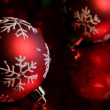 Red Snowflake Baubles Upclose — Stock Photo