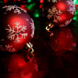 Stock Photo: Red Snowflake Baubles