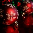 Two Red Snowflake Baubles — Stock Photo #4082656