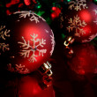 Stock Photo: Two Red Snowflake Baubles