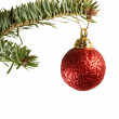 Red Sparkling Ball Christmas Ornament - Stock Photo