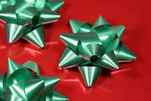 Closeup of Green Xmas Bows — Stock Photo