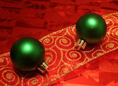 Two Green Balls on a Ribbon — Stock Photo