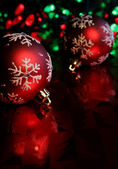 Red Snowflake Baubles — Stock Photo