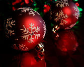 Two Red Snowflake Baubles — Stock Photo