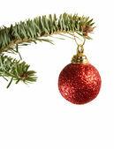 Rojo brillante bola de navidad ornamento — Foto de Stock