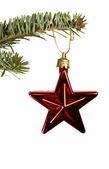 Rote Sterne Christbaumkugel — Stockfoto