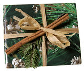 Christmas Present Wrapped with Green — Stock Photo