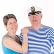 Middle aged couple posing as sailors — Stock Photo