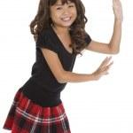 Cute asian girl pushing something — Stock Photo #4051637