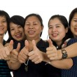 Asiwomen with thumbs up — Stock Photo #4092117