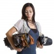 Woman with many a purses — Stock Photo