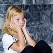 Blond girl with bad mood — Stock Photo