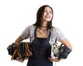 Donna con molti un portamonete — Foto Stock