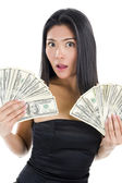 Woman with much money — Stock Photo