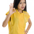 Woman with ok sign — Stock Photo