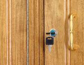 Drewniana szafka z kluczami — Zdjęcie stockowe