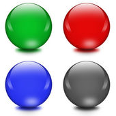 Four different color crystal balls — Stock Photo