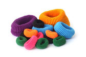 Pile of colorful hair elastics — Stock Photo