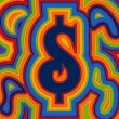Groovy Money - Rainbow Dollar — 图库矢量图片
