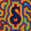 Groovy Money - Rainbow Dollar — Stockvektor