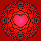 Red Heart & Swirls — Stock Vector