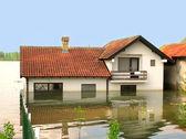 Flood - huis in water — Stockfoto