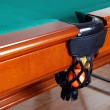 Balls in Billiards table pocket — Stockfoto