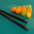 Fruits on billiards table — Stock Photo #5095721