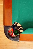 Balles en poche de table de billard — Photo