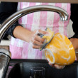Stock Photo: Washing dishes