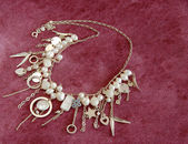 Silver necklace with pearls — Stock Photo
