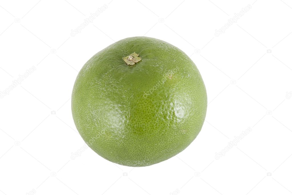 Front view of green sweet pomelo on white background — Stock Photo #4384587