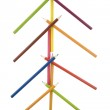 Christmas tree made from colored pencils — Stock Photo