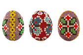 Easter eggs decorated with beads — Stock Photo
