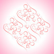 Abstract background of hearts and scrolls — Stock Vector