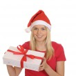 Christmas girl with gift — Stock Photo