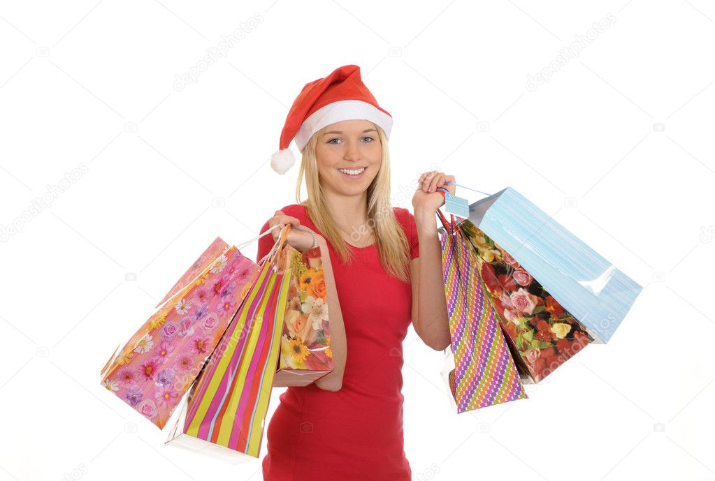 Christmas girl with shopping bags — Stock Photo #4364825