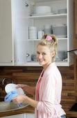 Happy housewife — Stock Photo