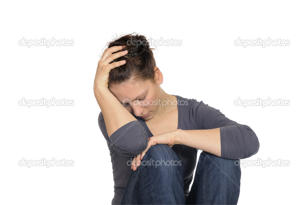 Young brunette woman is exhausted — Stock Photo #5031753