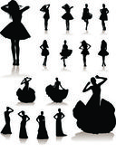 Set of various beautiful model girls in dress. — Stock Vector