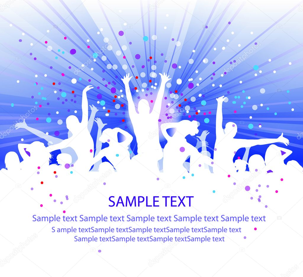 Set of group peoples dance vector. flyer — Stock Vector #4134431