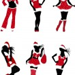 Set of Christmas girls-vector — Stock Vector