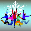 Set of group winter peoples - Stock Vector