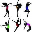 Set Dance girl ballet silhouettes vector — Stockvektor #4272769